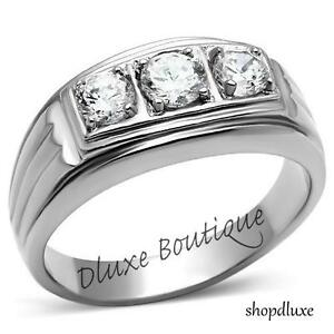 Men-039-s-Round-Cut-CZ-Silver-Stainless-Steel-316L-Wedding-Fashion-Ring-Band-Sz-8-14