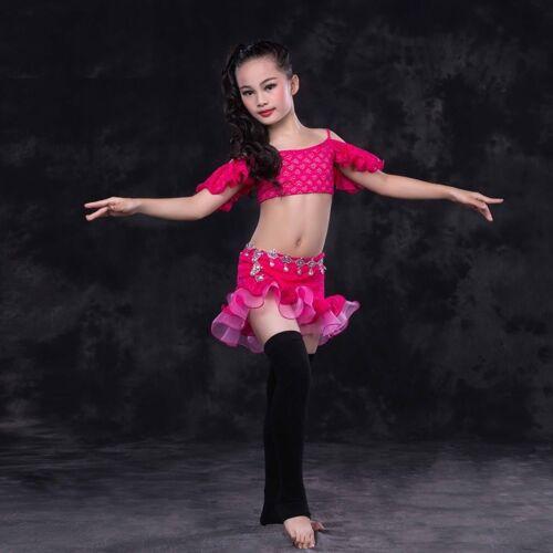 KID/'s Lace Blouse+Lace Short Skirt 2pcs set Belly Dance Costumes Dance School WZ