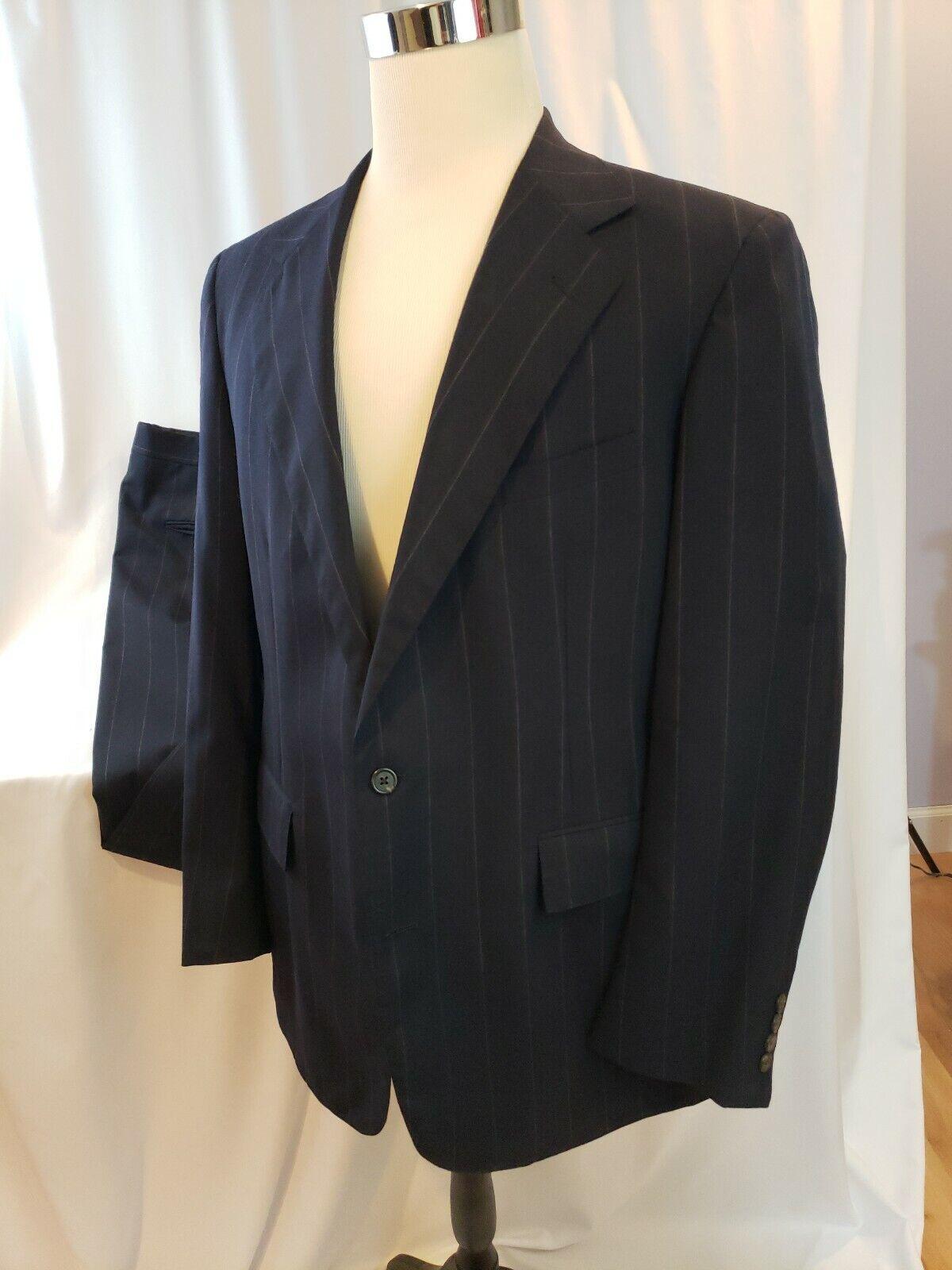 Vintage POLO Ralph Lauren Suit 42R - 36-32 cuffed Pants - Wool Striped - EUC