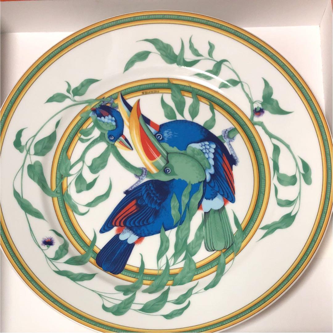 Hermes Porcelain Toucans Cena Plato Plato Vajilla Auth nuevo sin usar 10.8  Rara
