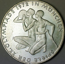 1972 G German 10 Marks Silver Coin Olympic Games Commem Munich Couple AU- BU