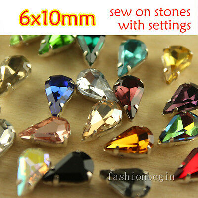 50pcs Rhinestone10x6mm Sew On Crystal Teardrop Fancy glass Stone Lot chose color