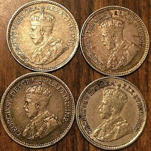 LOT-OF-4-CANADA-SILVER-5-CENTS-Good-quality-coins-between-F-VF