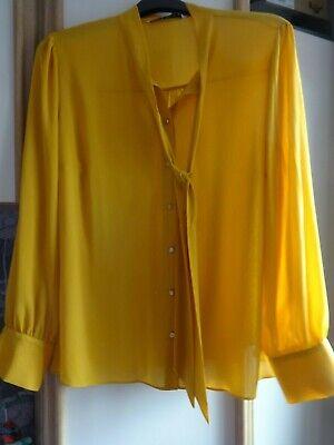 #w28 - Senape L/manica Blusa Da Tu-taglia 22-nuova Con Etichetta-mostra Il Titolo Originale Colore Veloce