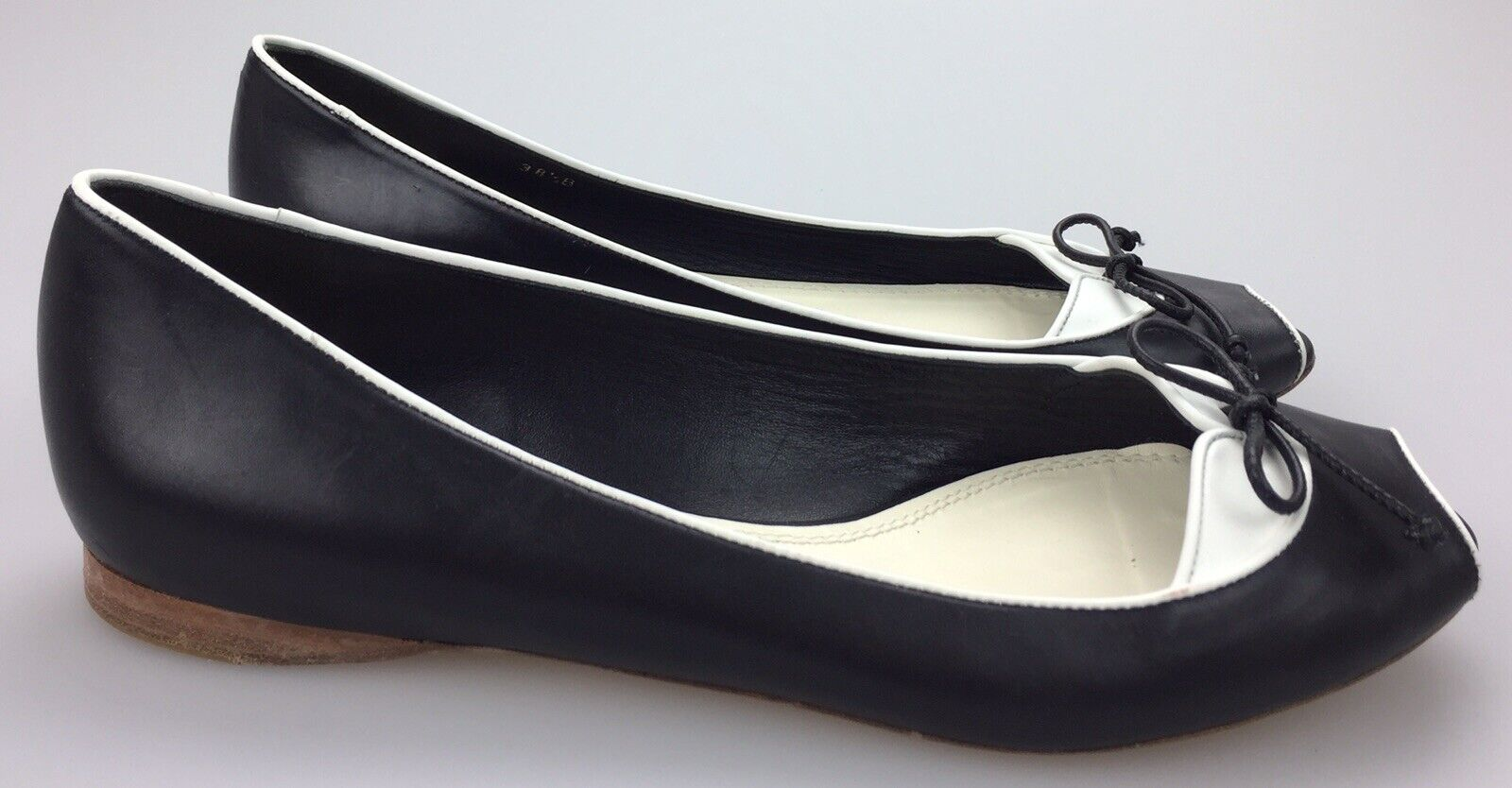 Ralph Lauren Collection Purple Label Black White Leather Peep Toe Ballet Flats