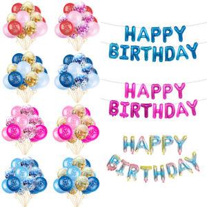 12-034-Baby-Shower-premiere-seconde-fete-d-039-anniversaire-confettis-ballons-Set-Bunting-decor