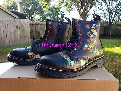 NIB Dr. Martens Kid's Collection 1460 Pooch Flower Zip Boots Black T Lamper | eBay