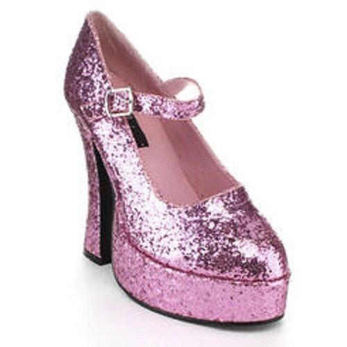 Demonia Dolly-50 Pink Glitter Womens Sz 6 Mary Jane Platforms New Free Shipping