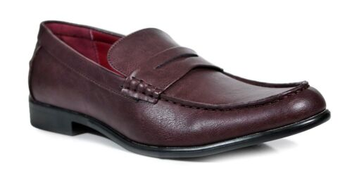 Men Fashion Penny Slip-On Loafers Shoes Moc Toe Strap Burgundy Red
