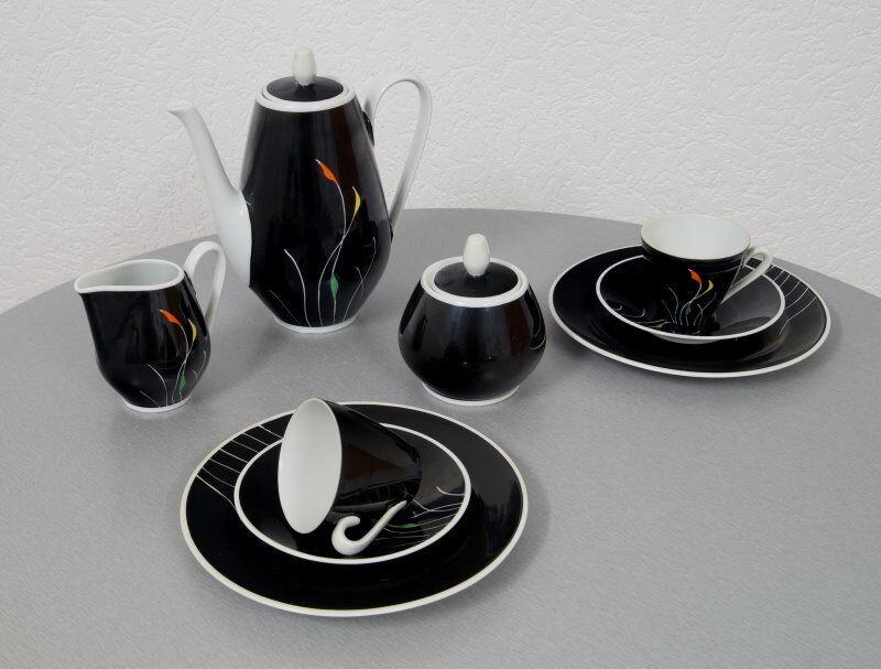 Noble Weimar porcelaine Moka Service 11 pièces pour 2 personnes pastelles 50er Ans