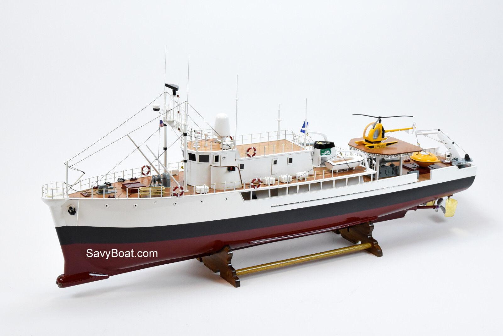 RV Calypso buque de investigación hecho a mano Barco de Madera Modelo 48  RC Listo