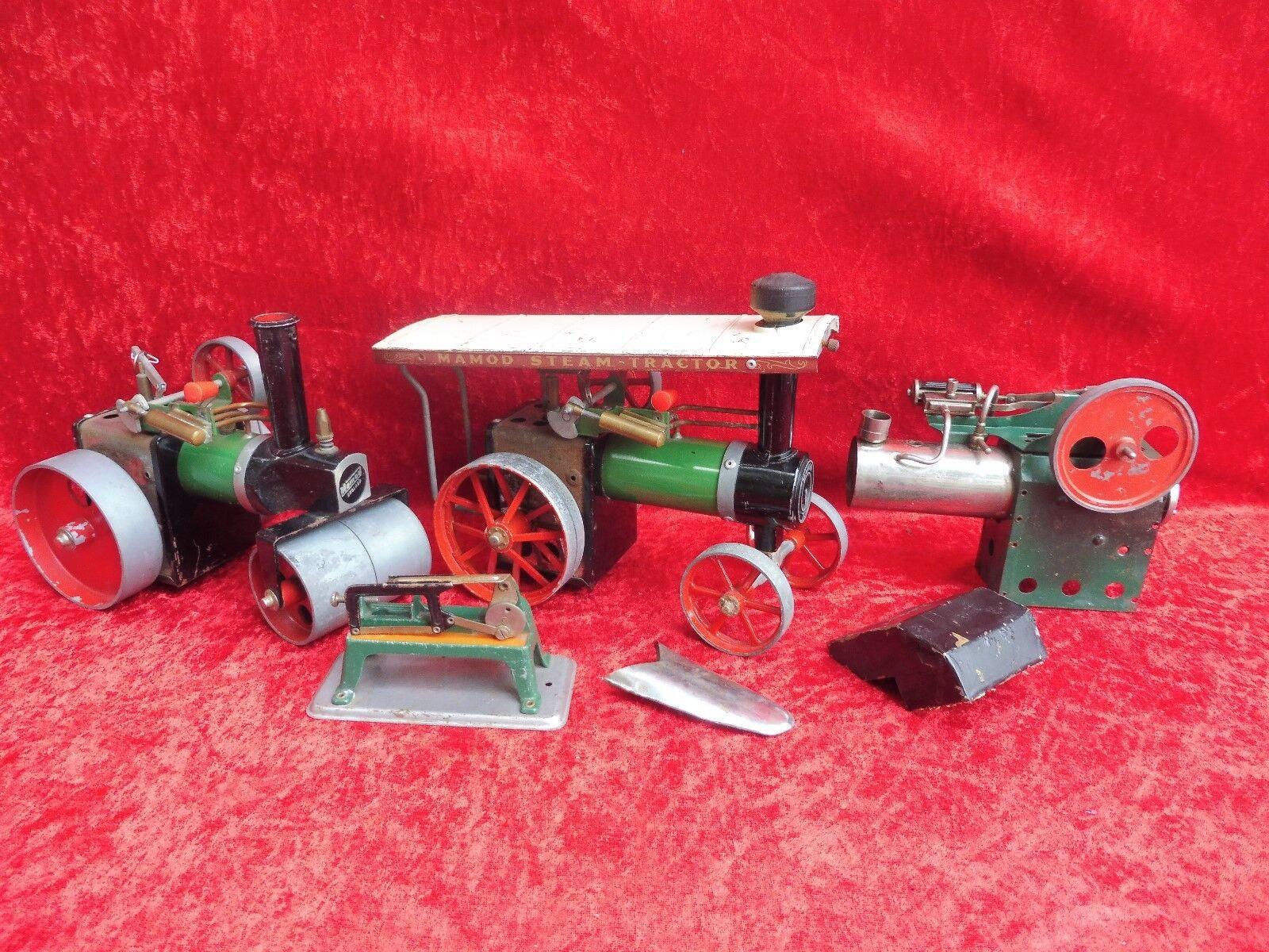 Antiguo Motores de Vapor __ Dampfstielzeug __ Rodillo, Tractor __ Mamod
