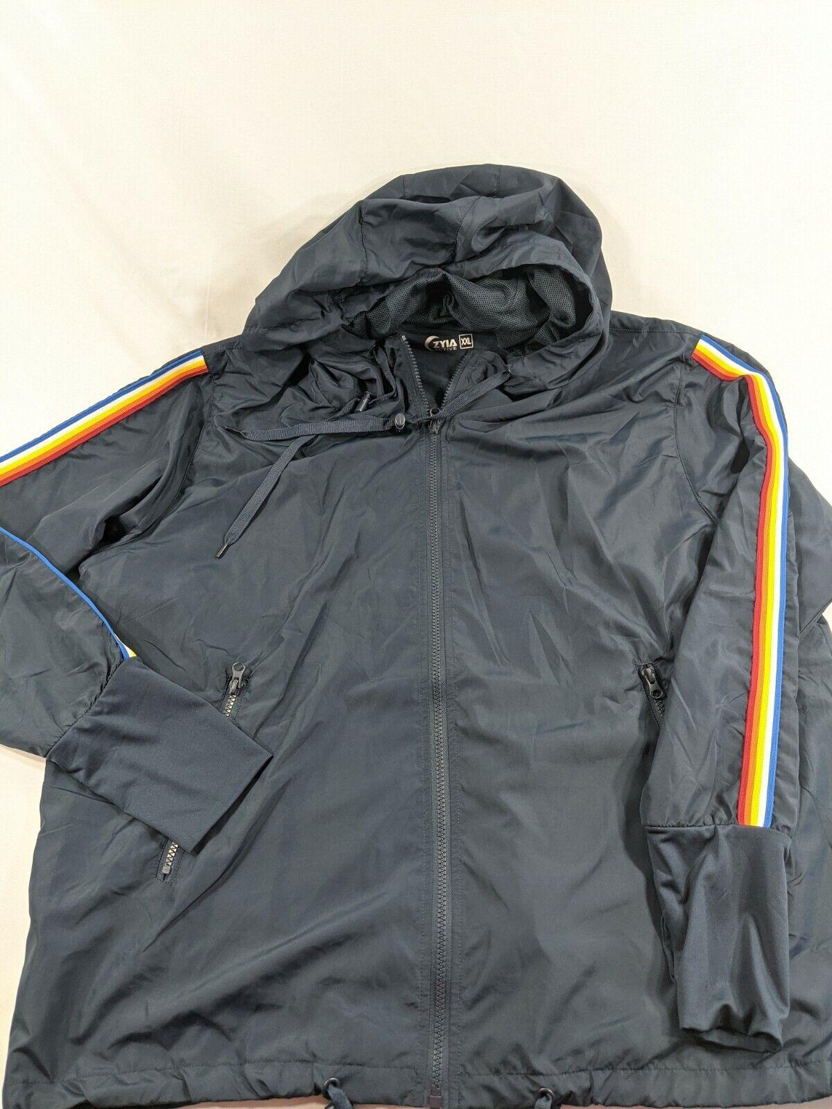 Zyia 🌙 Navy Rainbow Bomber Light Athletic Jacket Sz XXL Excellent condition