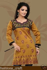 3f609b66c7c Image is loading Indian-Designer-Printed-Yellow-Mustard-Crepe-Silk-Kurtis-