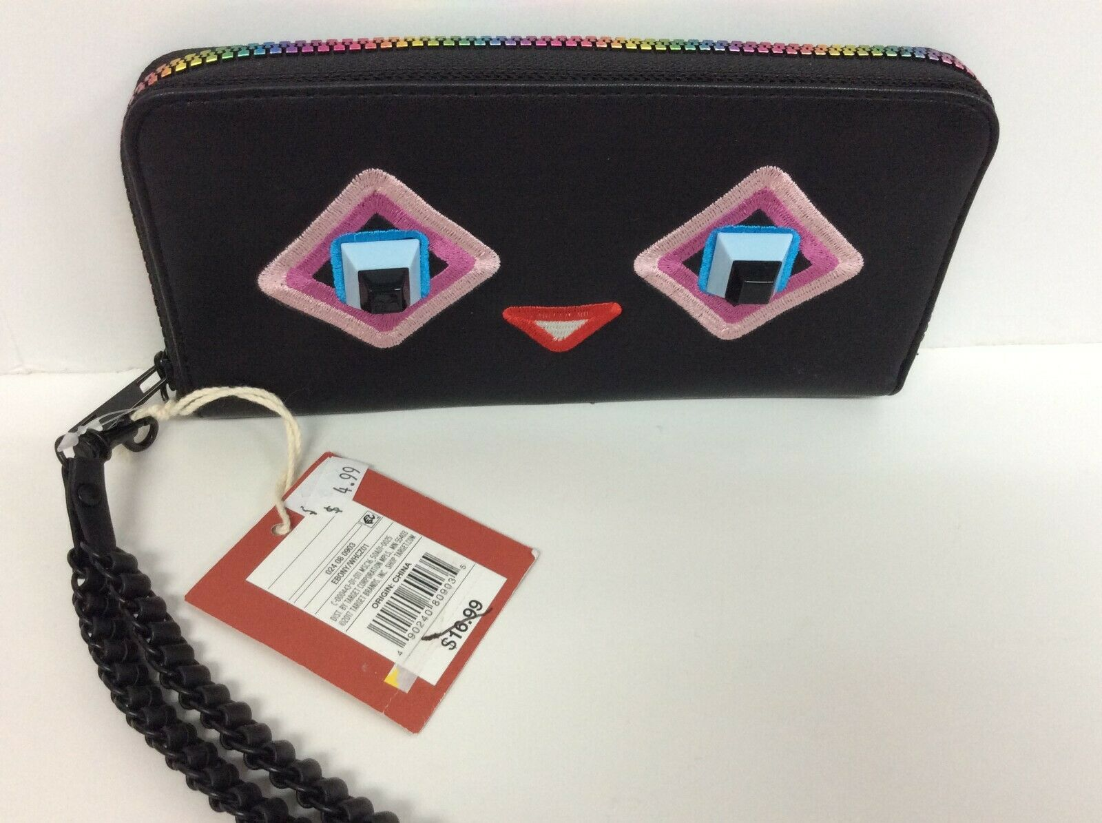 Mossimo Supply Co Happy Face Jewel Eyes black w pink embroidery Wristlet wallet