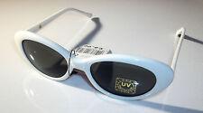 VINTAGE anni'50 anni'60 stile Cat Eye occhiali da sole telaio bianco Lente Ovale Scuro Da Uomo Donna
