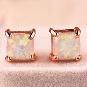 European-Square-6MM-White-Fire-Opal-Gemstone-Rose-Gold-Plated-Stud-Hook-Earrings