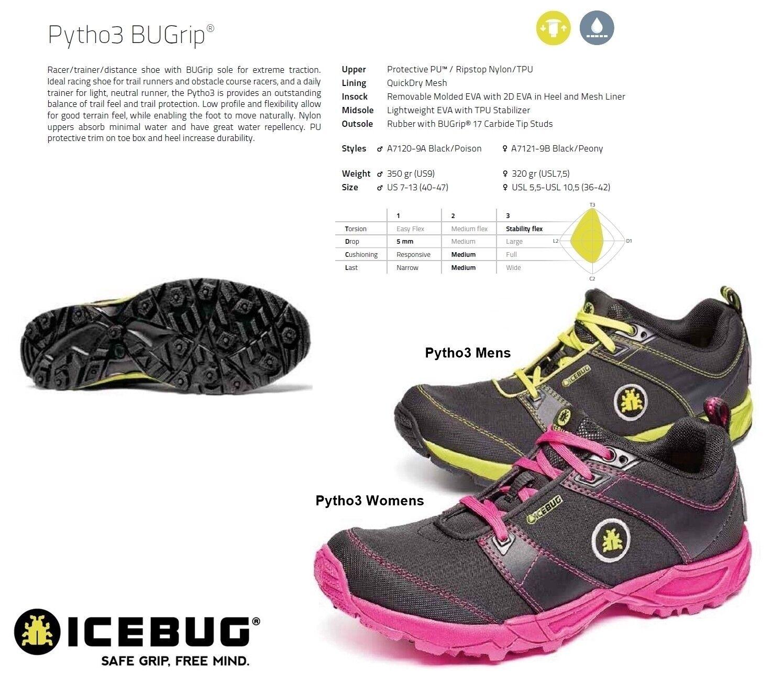 NEW Icebug Pytho3 Bugrip Studded Mens Womens Trail Running Winter shoes Ret 190