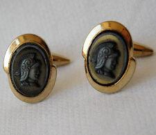 Vintage cameo cufflinks ancient Roman Greek soldier with helmet 1970s 1980s