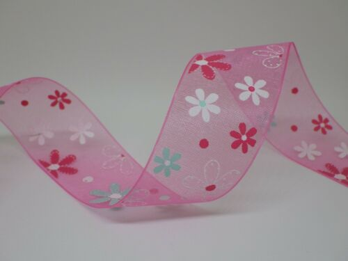 choice of colour Organza Floral Ribbon 25mm in 2m or 5m lengths free postage