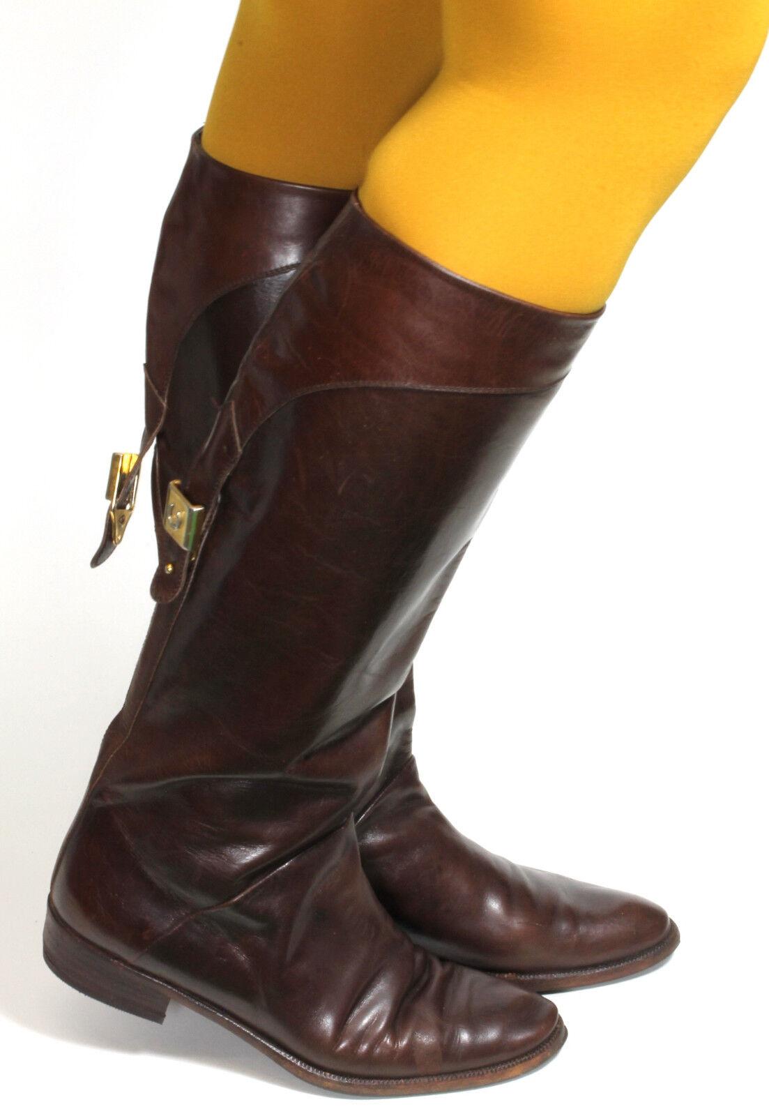 Damenstiefel Vintage Stiefel Stiefel Leder Flats Reiter Braun Chellis  38,5