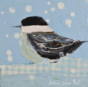 Blue Chickadee Bird Mini Animal Art Painting Katie Jeanne Wood