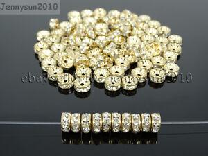 Czech-Crystal-Rhinestone-Light-Rose-Gold-Rondelle-Spacer-Beads-4mm-6mm-8mm-10mm