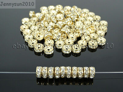 Czech Crystal Rhinestone Light Rose Gold Rondelle Spacer Beads 4mm 6mm 8mm 10mm