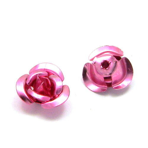 Lot of 100 Aluminum 10mm x 6mm Rose Bud Shaped Metal Flower Beads w// Center Hole