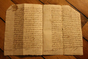 1793-manuscript-notary-sale-contract-document-4p-AMAZING-signatures-stamp-DAMAGE