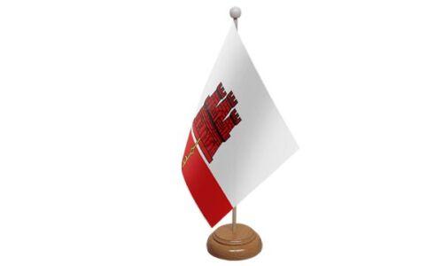 Gibraltar Table Desk Flag With Wooden Base