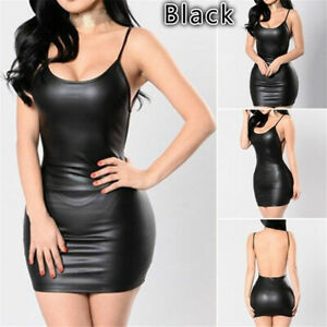 Women-Latex-Dress-Sleeveless-Clubwear-Outfits-Black-Backless-Leather-Jumpsuit