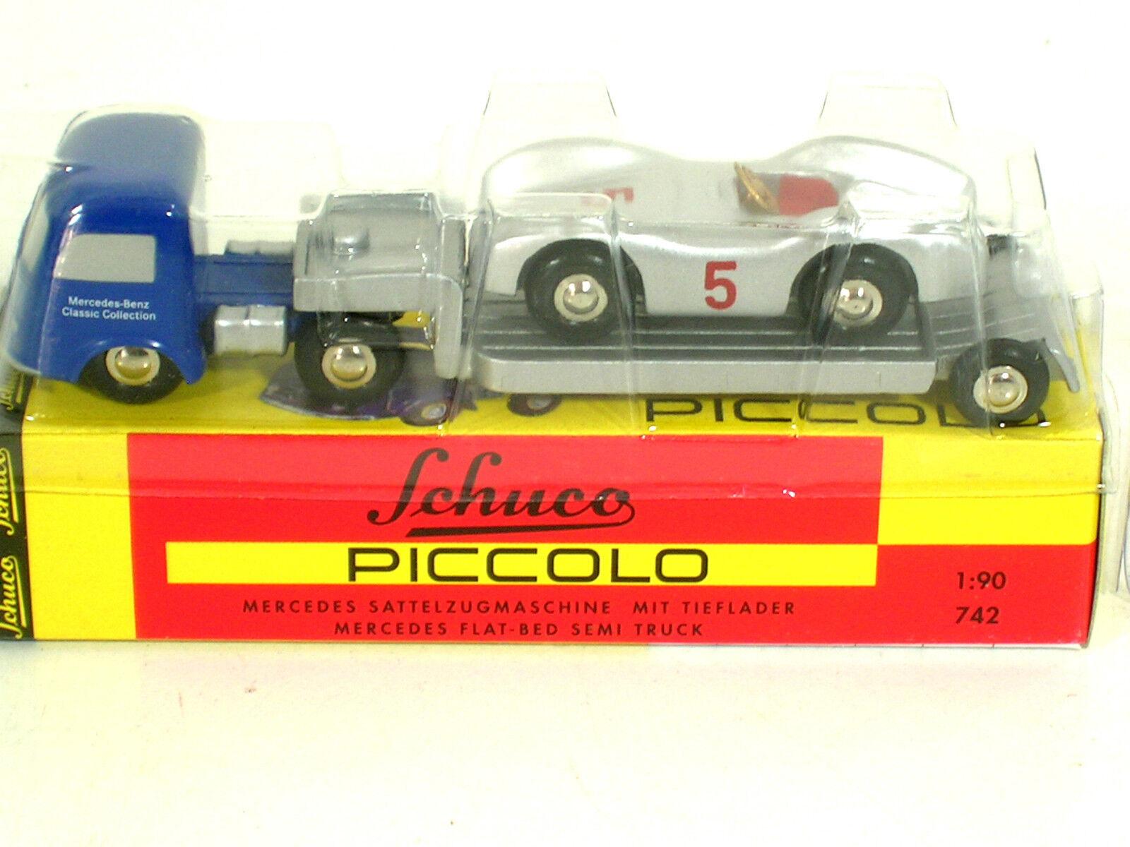 Schuco Piccolo 742 Mercedes Tieflader mit Mercedes-Benz Stromlinie,lim.1000St