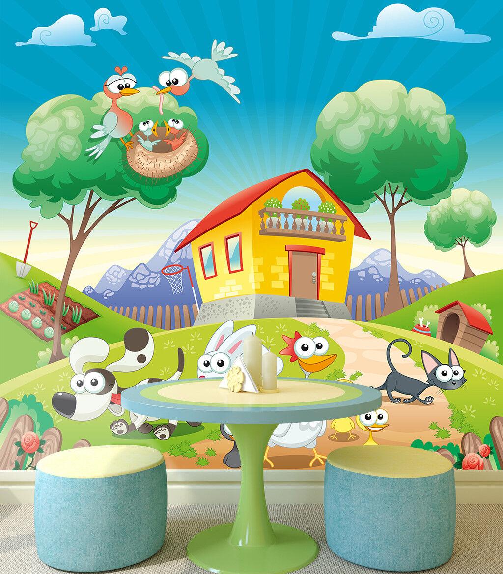3D Bauernhof Tier 988 Tapete Wandgemälde Tapete Tapeten Bild Familie DE Lemon