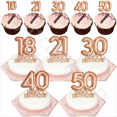 Rose Gold Happy Birthday Cake Cupcake Toppers Picks Decoration  18/21/30/40/50   eBay