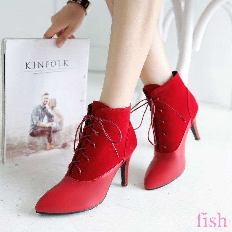 Elegant Women's Lace Up High Stiletto Heels Ankle Boots Stitch Casual Party shoes
