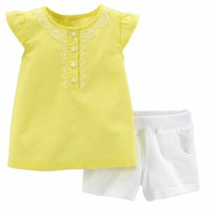 Carter-039-s-Toddler-Girl-Top-and-French-Terry-Shorts-Set-Yellow-White-2T-FREE-SHIP
