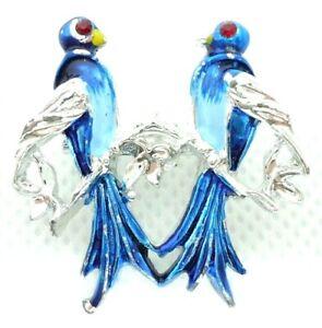 VINTAGE 1950s BROOCH LAPEL PIN BLUE BIRDS SWEETHEARTS ENAMEL SILVER TONE METAL