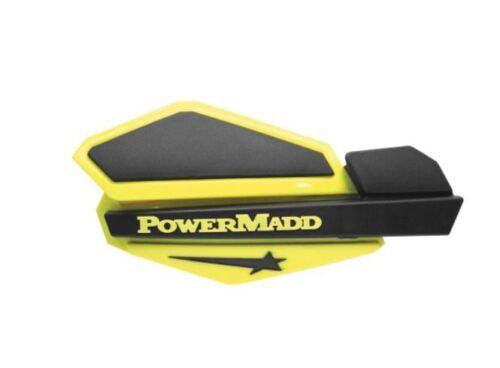Powermadd Star Series Handguards Guards Tri Mount Yellow Black ATV Polaris