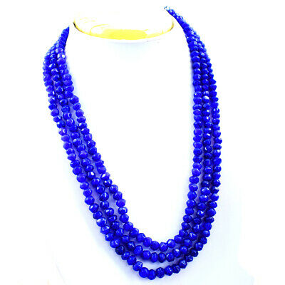 1012.50 CTS EARTH MINED SINGLE STRAND RICH BLUE SAPPHIRE ROUND BEADS NECKLACE