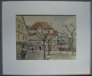 :: Watercolour Sig Muller ° Eels citizens Hospital ° Timbered Town Impressionism Modern