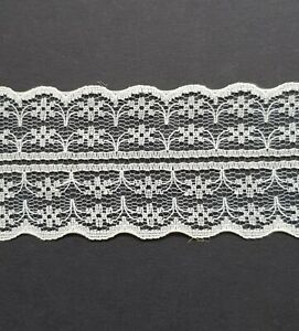 Ivory-Vintage-Lace-Ribbon-Wedding-Trim-1m-x-45mm-Wide-For-Card-Craft-Sewing