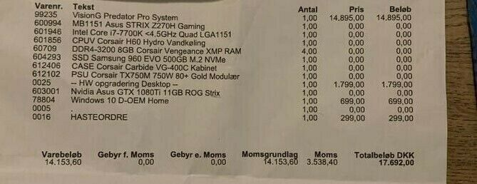 Selvbyg, ROG Strix GTX 1080 Ti, 4,2 Ghz
