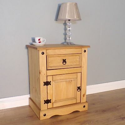Corona Chunky Bedside Table Cabinet Pine Grey White Cream by Mercers Furniture