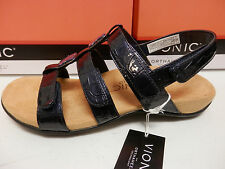 VIONIC W/ ORTHAHEEL TECHNOLOGY WOMENS SANDALS AMBER NAVY CROC SIZE 8