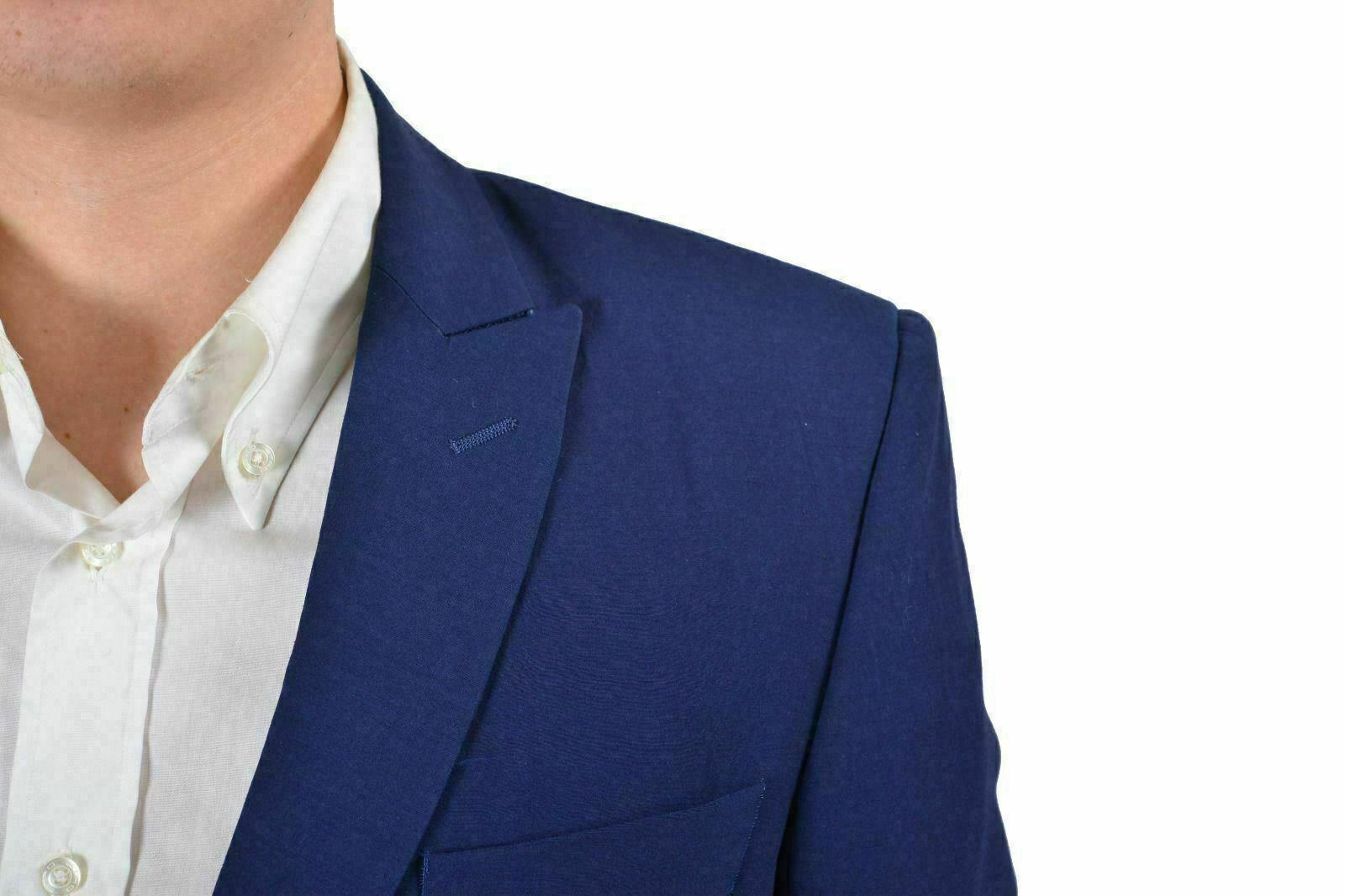 Versace Collection Herren Tief Blau Wolle Wolle Wolle Zwei Knopf Sport Mantel Blazer Us 38 a5e2a1