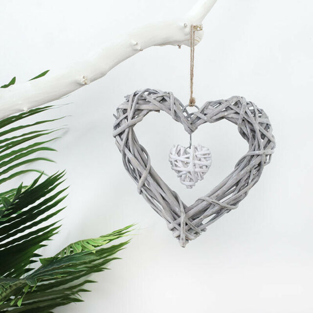 Shabby Chic Wicker Double Coeur Couronne Wall Hanging Wedding Birthday Party Decor