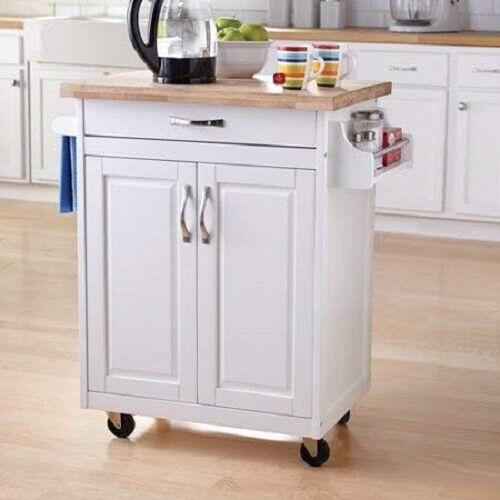 Kitchen Island Cabinet Cart Small Wood Rolling Storage Serving Carts Drawer  New