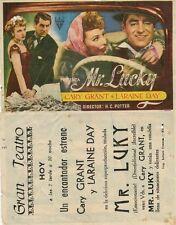 Programa de CINE. Título: MR. LUCKY. Cary Grant y Laraine Day.