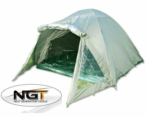 CARP FISHING 2 MAN DOUBLE SKINNED GREEN BIVVY TENT SHELTER WITH GROUNDSHEET NGT
